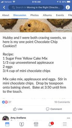 Cake mix cc cookies Source by Weigh Watchers, Weight Watchers Smart Points, Weight Watchers Desserts, Ww Desserts, Sugar Free Desserts, Sugar Free Recipes, Cake Mix Recipes, Ww Recipes, Cake Mixes