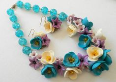 Statement flower necklace  Turquoise necklace and by insoujewelry, $78.00