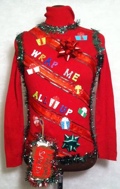cheap ugly christmas sweater wrap me all up size med or any size custom red and green christmas bow christmas gifts sparkly - Ugly Christmas Sweaters Cheap
