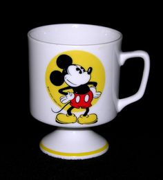 Mickey Mouse Ceramic Footed Mug Japan Vintage Disney Love, Walt Disney, Mickey Mouse Mug, Candy Dishes, Framed Artwork, Candle Holders, Pottery, Mugs, Antiques