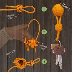 A beginner friendly guide to making a DIY Paracord Keychain for those new to the art of paracord creations or who just want a neat looking cheat sheet. Previous Post Next Post Lanyard Knot, Paracord Keychain, Diy Keychain, Paracord Bracelets, Paracord Tutorial, Rope Crafts, Diy And Crafts, Arts And Crafts, Rope Knots