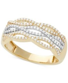 Diamond Cutout Band (1/3 ct. t.w.) in 14k White and Yellow Gold - White