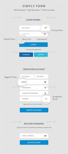 Simply Forms Web Element Template PSD. Download here: http://graphicriver.net/item/simply-forms/12497725?s_rank=28&ref=yinkira