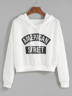 SheIn offers White Letter Print Hooded Sweatshirt & more to fit your  fashionable needs.