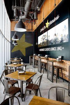 restaurant architecture Restaurant Designs: Hardees, Dubai Mall, Fashion Avenue - Love That Design Pizzeria Design, Small Restaurant Design, Deco Restaurant, Small Cafe Design, Modern Restaurant, Restaurant Interior Design, Industrial Restaurant, Fast Food Restaurant, Restaurant Ideas