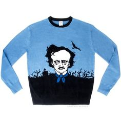 This limited quantity, exclusive Edgar Allan Poe Sweater features an honest, but misguided attempt to accurately capture the likeness of Edgar Allan Poe. Sure to be a conversation piece as you play with a Ouija board and read poetry.
