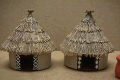 African Huts Diy Crafts For Girls, Hobbies And Crafts, Diy For Kids, Diy And Crafts, Arts And Crafts, Cardboard Crafts, Paper Crafts, African Hut, Janmashtami Decoration