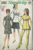 "An original ca. 1969 Simplicity Pattern 8102.  Jacket, Skirt and Pants: The dart fitted pants and A-line skirt have waistband and side zipper. The lined princess seamed jacket with long or short set-in sleeves and high round neckline has ""stand-up"" collar, front button closing and pockets concealed in side front seams."