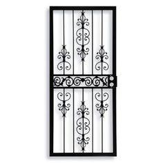32 in. x 80 in. 409 Series Spanish Lace Steel Black Prehung Security Door
