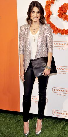 Nikki Reed walked the green carpet at Coach's L. event in a sequin Ella Moss blazer that she paired with layered necklaces, leather leggings, an oversized clutch and mirrored platforms. Nikki Reed, Look Legging, Cute Blazers, Sequin Blazer, Red Carpet Looks, Green Carpet, Printed Blazer, Glamour, Work Wardrobe