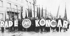 Radnici tvornice Rade Končar na čelu prvomajske kolone, 1960.
