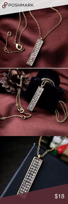 """🎉HP!🎉Antique Gold Crystal Pavé Bar Necklace! Antique Gold Plated Bar Shaped Pendant with Sparkling Clear Crystal Pavé stones! Your Perfect Accessory- Dress up, Dress Down, Sophisticated & Perfect for the Minimalist!  • Antique Inspired Gold Plating, Clear Crystal Pavé  • Nickel & Lead Free • Lobster clasp closure  ➖Prices Firm, Bundle for 20% Discount ➖""""Trade"""" & Lowball Offers will be ignored ➖Sales are Final, Please read Description & Ask Any Questions! Boutique Jewelry Necklaces"""