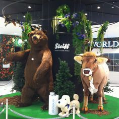 A life-size display of a dog, a bear, and an absolutely darling cow by German toymaker Steiff. Back Off, 7th Birthday, World War Two, Teddy Bears, Stuffed Animals, German, Creatures, Display, Spaces
