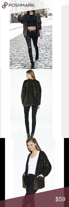 Express Fuzzy Sequined Sweater Coat Coatigan This sweater/coat is gorgeous!! It's A fuzzy black with GOLD SEQUINS. Cardigan meets coat and fuzzy fabrication meets rows of tonal sequins in this soft and sparkly wonder. It's perfect over your favorite sheath dress for added warmth. Open front, long sleeves Express Sweaters Cardigans