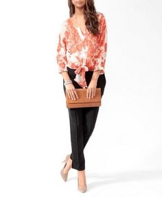 Self-Tie Floral Shirt | FOREVER 21 - 2086807786