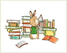 This bunny loves his books. - art print from an original watercolor, gouache, and acrylic painting by Kit Chase. - archival matte paper and ink - horizontal print - ships worldwide from the U.S. - wat