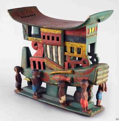 Africa | Chair/Stool from the Ashante people of Ghana  | Wood with paint
