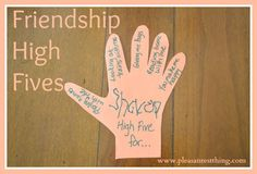 """Friendship High Fives - Kindness for Kids Now that school is out and my 4 year old doesn't see his friends 3 days a week, we wanted to let his friends know he's thinking about them. Little kids love getting mail, so we created paper """"High Fives"""" to send Friendship Theme Preschool, Friendship Crafts, Friendship Activities, Kindness Activities, Friendship For Kids, Friendship Lessons, Friendship Group, Preschool Classroom, Preschool Worksheets"""