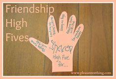 Friendship theme: friendship high five craft