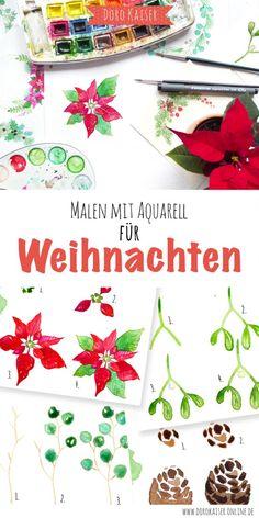 Malen Lernen mit Aquarell - weihnachtliche Mini Mal Anleitung: Weihnachtskranz| www.dorokaiser.online.de