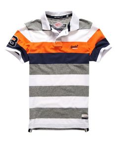 Shop Superdry Mens Duo Hoop Stripe Polo Shirt in Jaffa Orange. Buy now with free delivery from the Official Superdry Store. Striped Polo Shirt, Mens Polo T Shirts, Tee Shirts, Men's Polos, Polo Shirt Style, Collared Shirts, Camisa Polo, Polo Shirt Embroidery, Stripes