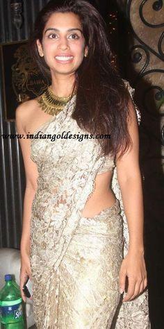 Latest Saree Designs: celeb in beige lace designer saree at diwali bash
