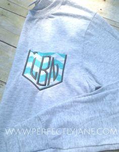 Monogrammed Chevron Pocket Tshirts | Monogram Tshirt | Monogrammed Faux Pocket | Personalized Sweatshirt Pullover | Monogram Sweatshirt | Personalized Gifts Lexington Kentucky