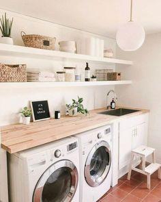 7 buenas ideas y recursos sencillos para organizar el lavadero Laundry Room Remodel, Laundry Room Organization, Basement Laundry, Storage Organization, Storage Ideas, Laundry Room Countertop, Shelving In Laundry Room, Organized Laundry Rooms, Storage Shelves