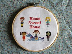 my home sweet home cross stitch - including unicorn