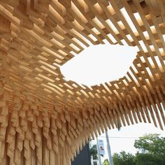 Visitors to Design Miami in 2011 could climb into the hollow belly of a wooden pavilion by architect David Adjaye.