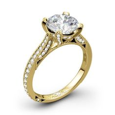 """Yellow Gold Engagement Ring by """"Tacori"""" the RoyalT . My Diamond of the week would be a great centre piece. Tacori Engagement Rings, Centre Pieces, Wedding Rings, Yellow, Gold, Jewelry, Centerpieces, Jewlery, Jewerly"""