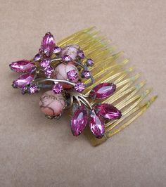 Vintage hair comb Hollywood Regency rhinestone by ElrondsEmporium