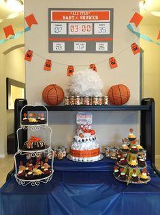 All-star basketball themed baby shower // Dessert table