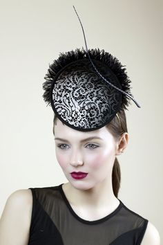 Black Cocktail Hat Feathered Race Millinery Statement Disc Millinery Hats 758eceb7430a