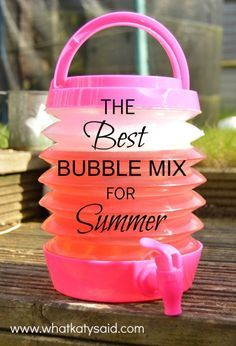 Bubble Mixture Recipe The best recipe for bubbles and a cool way of storing and dispensing them! Toddler Fun, Toddler Crafts, Summer Activities, Toddler Activities, Outdoor Activities, Bubble Activities, Childcare Activities, Summer Games, Toddler Learning