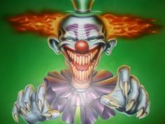 killer klown by magaggie on DeviantArt Evil Jester, Evil Clowns, Airbrush, Deviantart, Christmas Ornaments, Holiday Decor, Ideas, Air Brush Machine, Christmas Jewelry