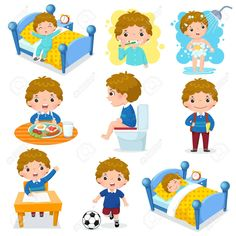 Daily routine activities for kids with cute boy. Illustration of daily routine a , Daily Routine Worksheet, Daily Routine Chart For Kids, Daily Routine Activities, Charts For Kids, Everyday Activities, Daily Routines, Flashcards For Kids, Worksheets For Kids, Homeschool Worksheets