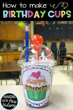 Looking for easy, cheap student birthday gifts or ideas? Try these directions to… Looking for easy, cheap student birthday gifts or ideas? Try these directions to prepping birthday cups! Fun, affordable, and a special way to celebrate with your kids! 3rd Grade Classroom, New Classroom, Kindergarten Classroom, Kindergarten Graduation, Classroom Ideas, Holiday Classrooms, Kindergarten Gifts, Preschool Bulletin, Preschool Ideas