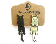Realistic Moon Cats Cling Earring – Nerdy But Still Girly