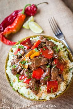 Put the meat in your slow cooker, then top with onions and peppers for a Slow Cooker Beef and Bell Pepper dish your whole family will love.