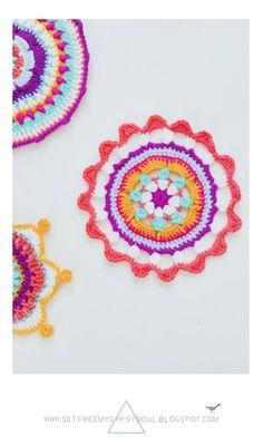 Free Crochet Pattern | 3 free Mandala crochet patterns for Bright Bohemian homes and potholders