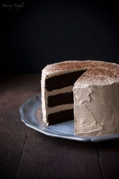 "Chocolate Espresso Layer Cake ~ with a touch of Vodka and Chocolate Espresso Italian Meringue Buttercream ~ via this blog, ""Savory Simple""."