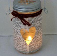 Bookworm Mason Jar Lantern Geek Nerd Chic Dictionary Pages Outdoor Lighting