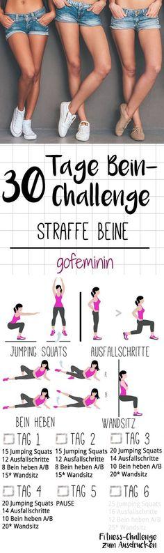 Die ganze Challenge gibt\'s zum Ausdrucken bei gofeminin.de. Startet jetzt mit dem Kurze-Hose-Training für den Sommer - mit der 30-Tage-Bein-Challenge!