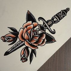 Trendy Tattoo Old School Rose Tatoo Tattoos, Traditional Tattoo, Art Tattoo, Knife Tattoo, Trendy Tattoos, Sleeve Tattoos, Leg Tattoos, Rose Tattoos, Tattoo Designs