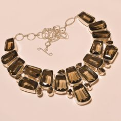 FACETED SMOKEY TOPAZ FABULOUS .925 SILVER NECKLACE #Handmade #Choker