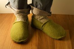 felted sweater into slippers--also calls for the upcycled leather from an old leather jacket