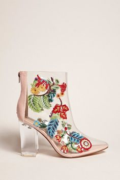 FOREVER 21 Privileged Shoes Lucite Boots Female Fashion and Woman Style. Klick to see the Price Thigh High Boots, High Heel Boots, Heeled Boots, Shoe Boots, Shoe Bag, Women's Shoes, Shoes Style, Block Heel Ankle Boots, Ankle Booties