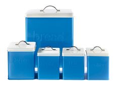 5-Piece Storage Set - Blue £14 5-piece enamel storage set with an embossed logo design and stainless steel handle. Handwash only. Set comprises of bread bin H28.5 x W34.5 x D21cm, biscuit tin H14.5 x W14.5 x D19cm and tea, coffee and sugar canisters H12 x W12 x D16.5cm.