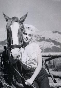 Marilyn Monroe on location in Canada during the filming of 'River Of No Return', 1953.
